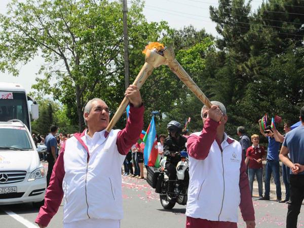 Birinci Avropa Oyunlarının məşəli Qaxda böyük coşqu ilə qarşılandı - FOTO