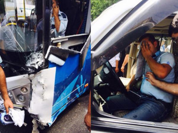 Bakıda dəhşətli avtobus qəzası: yaralılar var - FOTO