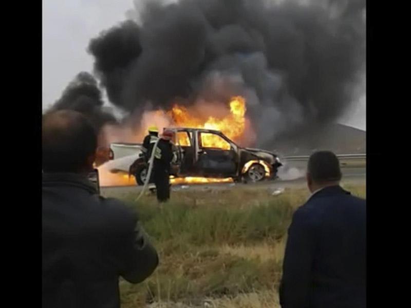 Nazirliyin avtomobili belə yandı