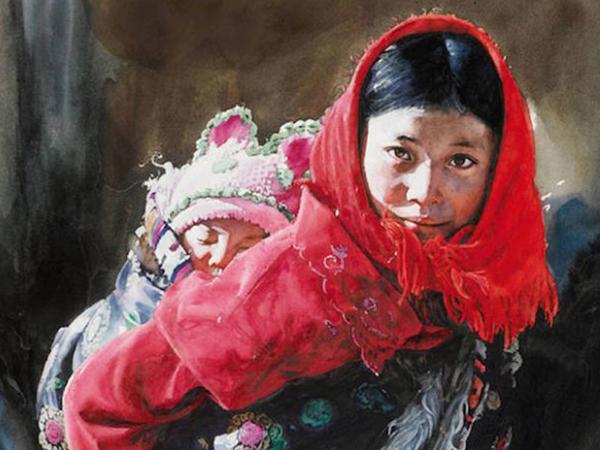Tibetlilərin sulu boyalı portretləri - FOTO