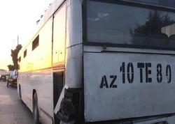 Bakıda sərnişin avtobusu vuruldu - FOTO