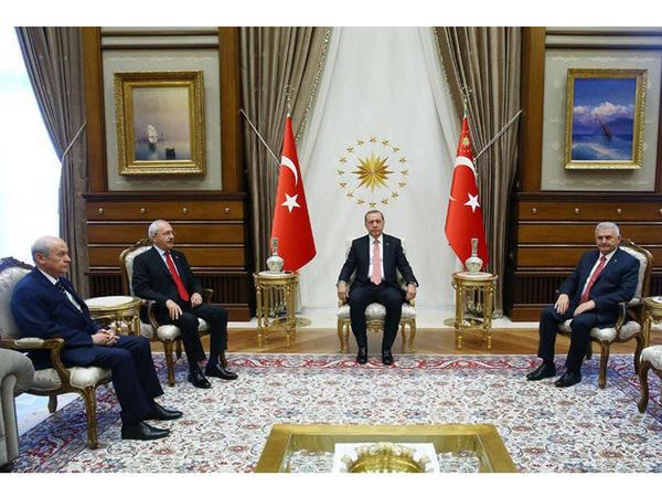 Ərdoğanın müxalifət liderləri ilə görüşü başladı - YENİLƏNİB - VİDEO - FOTO