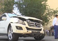 Bakıda zəncirvari qəza: 4 avtomobil toqquşdu, 1 nəfər yaralandı - VİDEO - FOTO