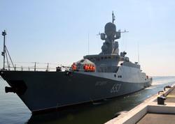 Rusiya hərbi gəmisi Bakıda - FOTO
