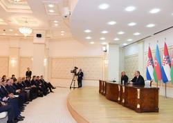 Azərbaycan və Xorvatiya prezidentləri mətbuata bəyanatlarla çıxış ediblər - YENİLƏNİB - FOTO