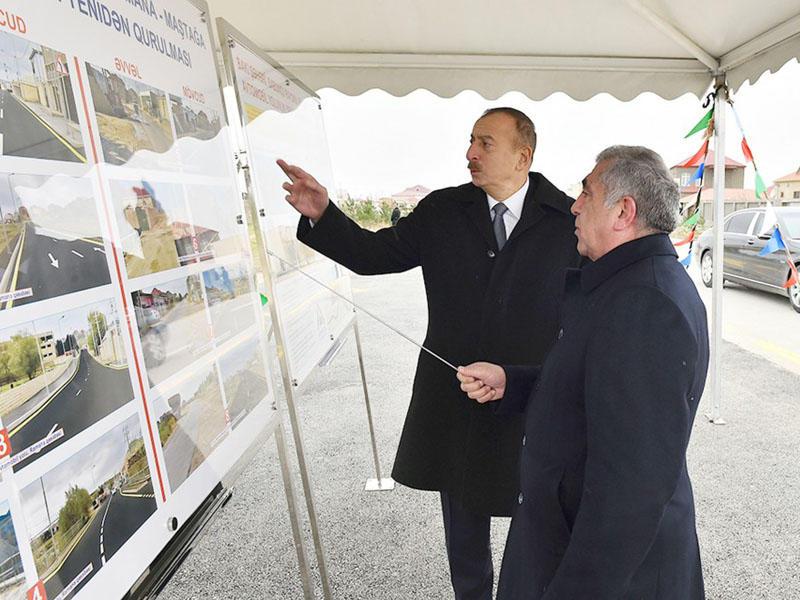 Prezident İlham Əliyev avtomobil yollarının açılışında iştirak
