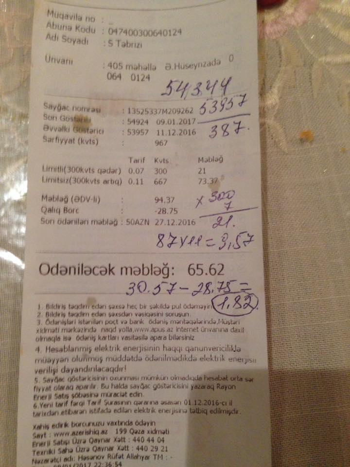 İşıq qəbzi azərbaycanlı məşhuru ŞOKA SALDI - FOTO