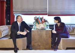 İlham Əliyev Davosda İsveçrə prezidenti ilə görüşdü - FOTO
