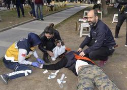 Məhkəmə binası yaxınlığında qarşıdurma: Polis havaya atəş açdı - VİDEO - FOTO