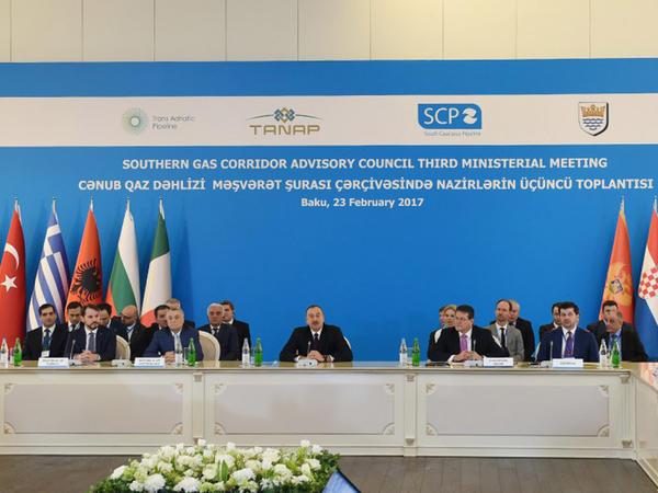 Prezident İlham Əliyev Cənub Qaz Dəhlizi Məşvərət Şurası çərçivəsində nazirlərin üçüncü toplantısında iştirak edib - FOTO