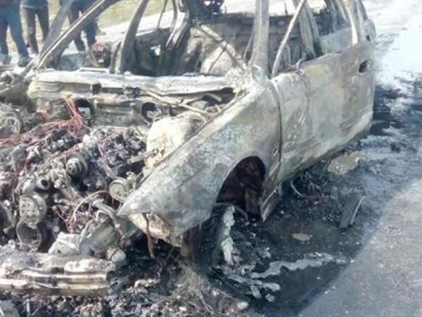 Azərbaycanlı idmançının avtomobili belə yandı - VİDEO - FOTO