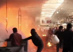 Mosul bazarı vuruldu, yandı - VİDEO