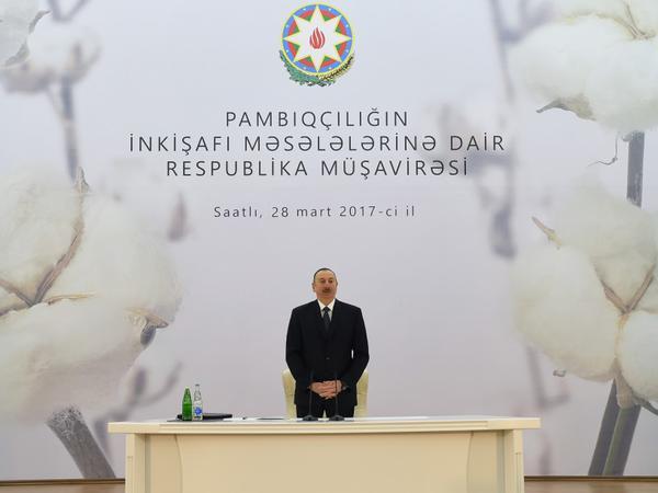 """Prezident İlham Əliyev: """"2016-cı il pambıqçılığın inkişafında dönüş ili olub"""""""