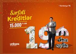 Unibank ayda 19 manat ödənişdən başlayan nağd kreditlər təklif edir