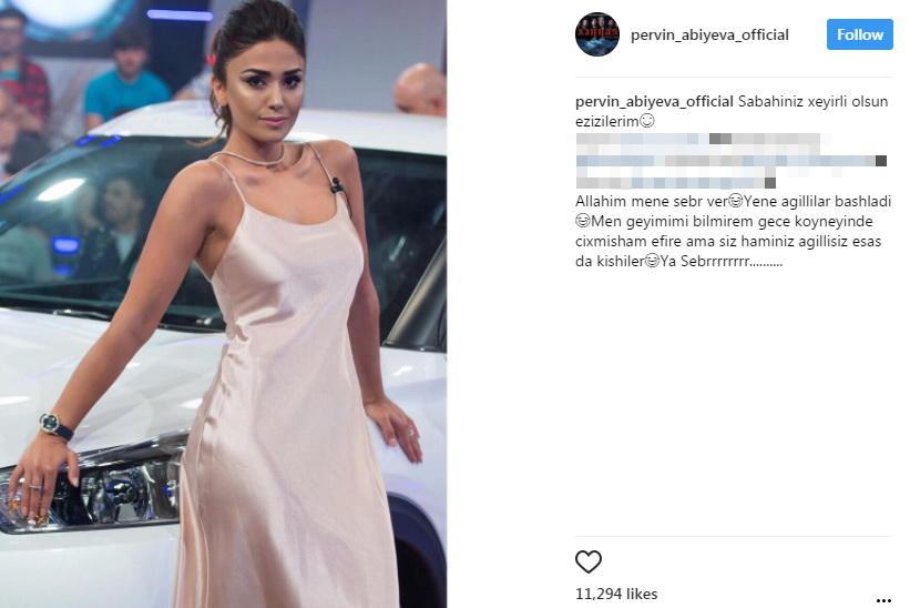 """Pərvin Abıyeva """"gecə paltarı""""nda efirə çıxdı: """"Geyimimi bilmirəm..."""" - FOTO"""