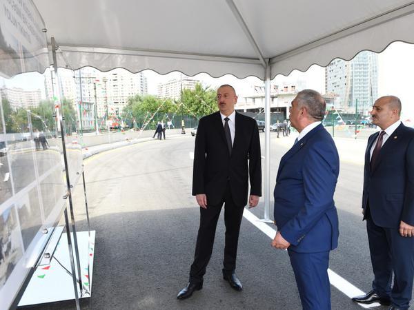 Prezident İlham Əliyev Bakıda yeni salınan yolun açılışında iştirak edib - FOTO