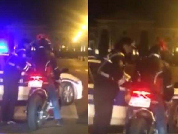 """Bakıda motosiklet sürücüsü polisə tabe olmadı: <span class=""""color_red"""">əlbəyaxa oldular - VİDEO</span>"""