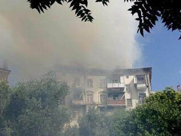 Bakıda bina yanır  - YENİLƏNİB - VİDEO - FOTO