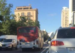 Bakıda qayda-qanun tanımayan avtobus sürücüləri - FOTO