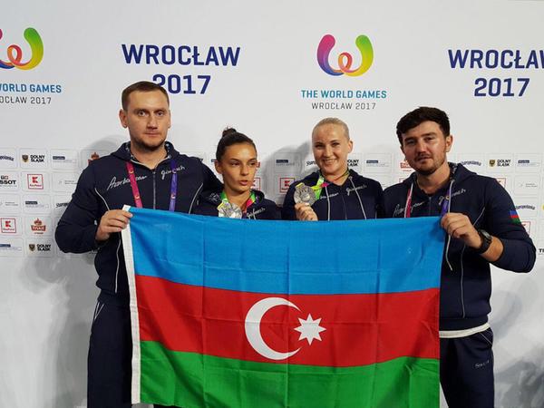 """Azərbaycan gimnastları Polşada Ümumdünya Oyunları 2017-də """"gümüş"""" qazanıblar - FOTO"""
