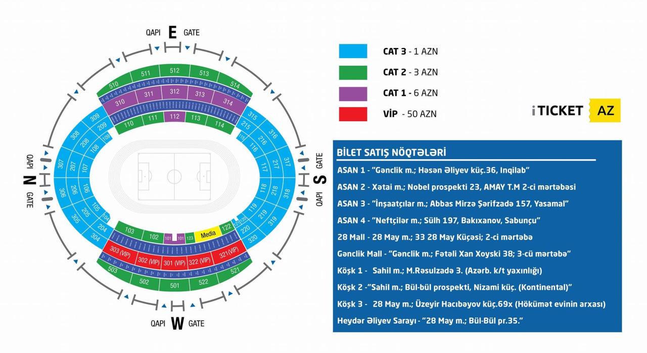 Azərbaycan-Çexiya oyununun biletləri satışa çıxarıldı - Ən ucuz bilet neçəyədir?