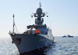 Rusiya hərbi gəmiləri Bakı sahillərində - VİDEO - FOTO