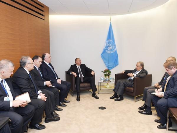 Prezident İlham Əliyev Nyu-Yorkda BMT-nin baş katibi Antonio Quterreş ilə görüşüb - FOTO