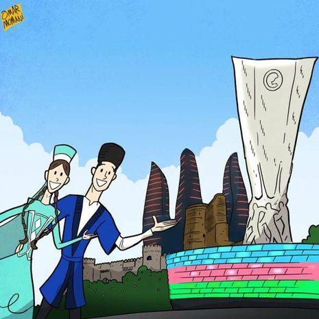 Omar Momani Bakıya karikatura həsr etdi - FOTO