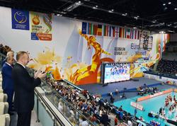 Prezident İlham Əliyev voleybol üzrə milli komandamızın oyununa baxıb - FOTO