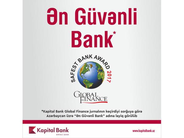 """Kapital Bank """"Ən Güvənli Bank"""" adına layiq görülüb"""