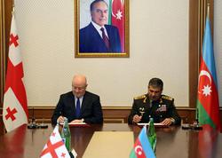 Azərbaycanla Gürcüstan arasında ikitərəfli hərbi əməkdaşlıq planı imzalanıb - FOTO