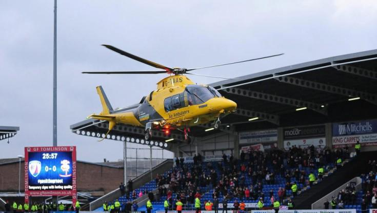 Oyun zamanı azarkeş helikopterlə xilas edildi -