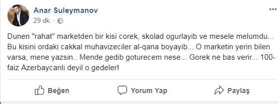 """Tanınmış idmançıdan """"Rahat market""""ə etiraz: """"Onu edən azərbaycanlı deyil"""" - VİDEO - FOTO"""