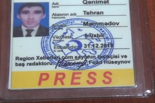 """Hədə-qorxu ilə pul tələb edən """"jurnalist"""" ifşa edildi"""