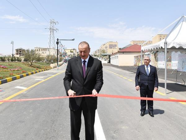 Prezident İlham Əliyev Qaradağ rayonunda yenidən qurulan Lökbatan-Qobu avtomobil yolunun açılışında iştirak edib - FOTO