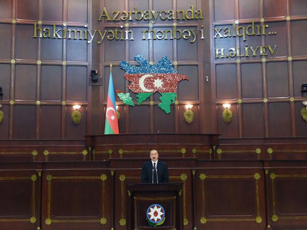 Prezident İlham Əliyev Milli Məclisdə Azərbaycan parlamentinin 100 illiyi münasibətilə təntənəli iclasda iştirak edib - FOTO