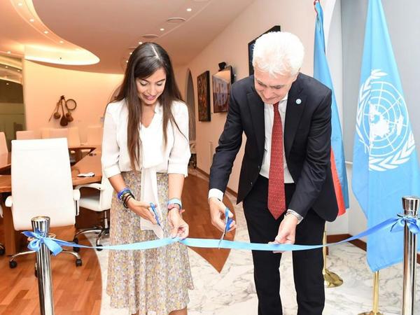 """Heydər Əliyev Fondunun vitse-prezidenti Leyla Əliyeva FAO-nun Romadakı baş ofisində """"Azərbaycan otağı""""nın açılışında iştirak edib - FOTO"""