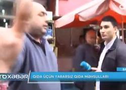 """""""Xeyir ola çəkirsən məni?"""" - Açıq havada ət satanlar jurnalistə hücum etdilər - VİDEO - FOTO"""