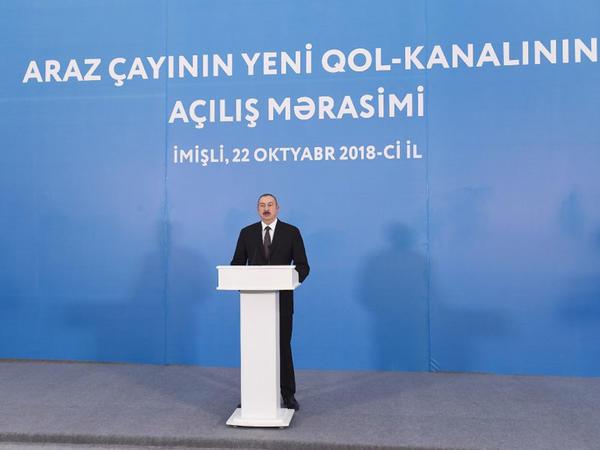 Prezident İlham Əliyev İmişlidə Araz çayının yeni qol-kanalının açılış mərasimində iştirak edib - FOTO