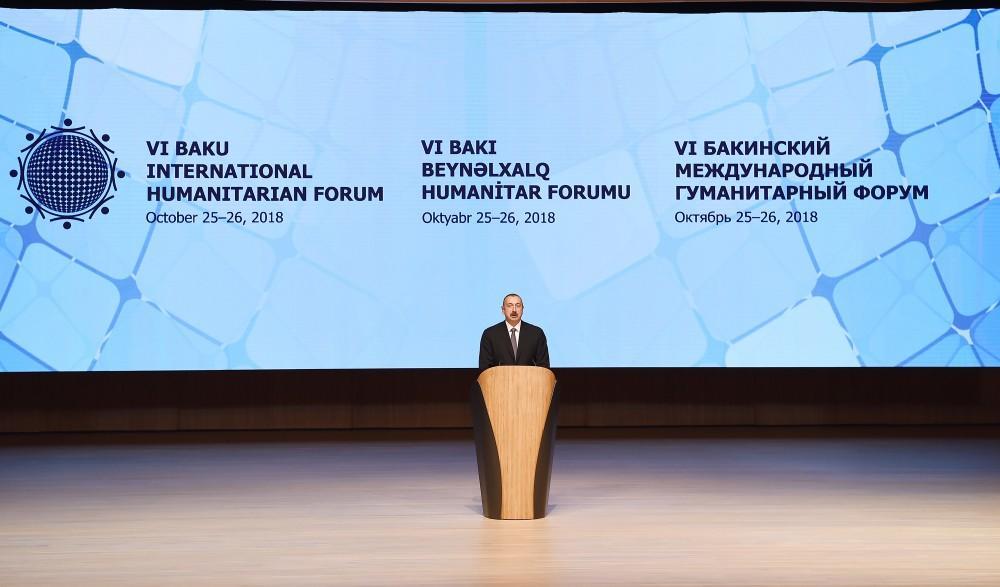 Prezident İlham Əliyev və birinci xanım Mehriban Əliyeva VI Bakı Beynəlxalq Humanitar Forumunun açılış mərasimində iştirak ediblər
