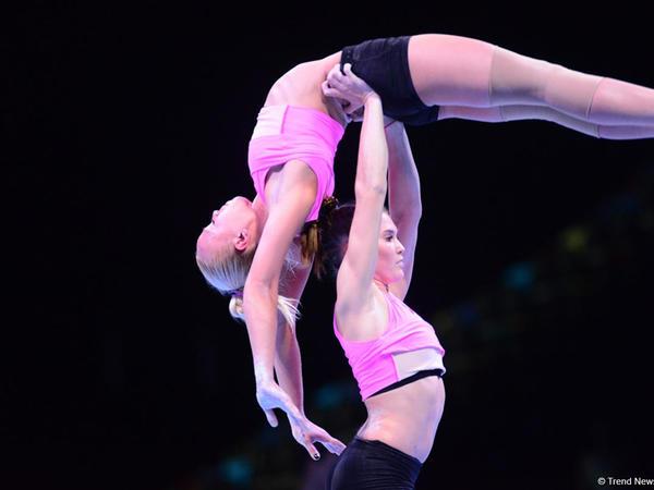 """Bakıda akrobatika gimnastikası üzrə Dünya Kubokunda iştirak edəcək idmançıların podium məşqləri keçirilir - <span class=""""color_red"""">FOTO</span>"""
