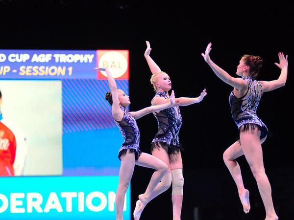 """Bakıda ilk dəfə olaraq akrobatika gimnastikası üzrə <span class=""""color_red"""">Dünya Kubokuna start verilib - FOTO</span>"""