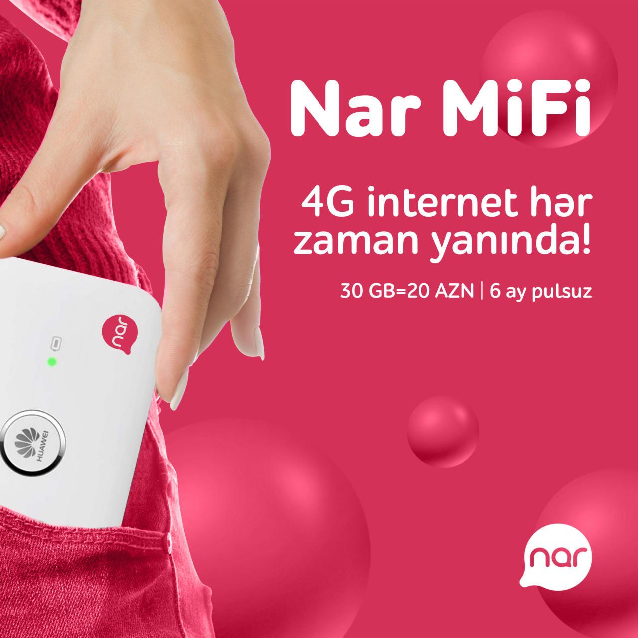 """""""Nar MiFi"""" paketini al, 6 aya qədər pulsuz internet əldə et!"""""""