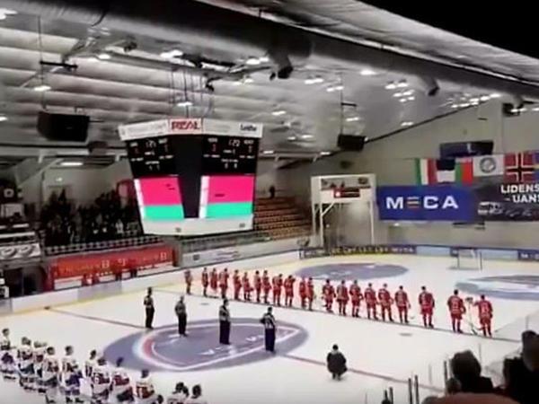 """Matç zamanı Belarusun himni yerinə """"Nu pogodi""""dən mahnı səsləndi - <span class=""""color_red"""">VİDEO</span>"""