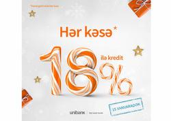 Unibankın 18%-dən başlayan kredit kampaniyası davam edir!