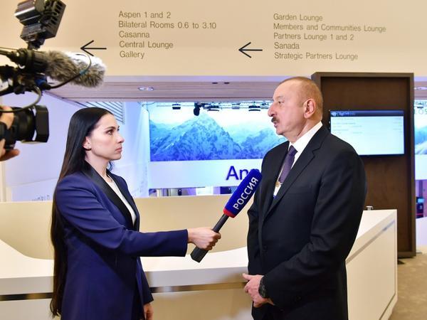 """Prezident İlham Əliyev Davosda """"Rossiya 1"""" televiziya kanalına müsahibə verib - FOTO"""