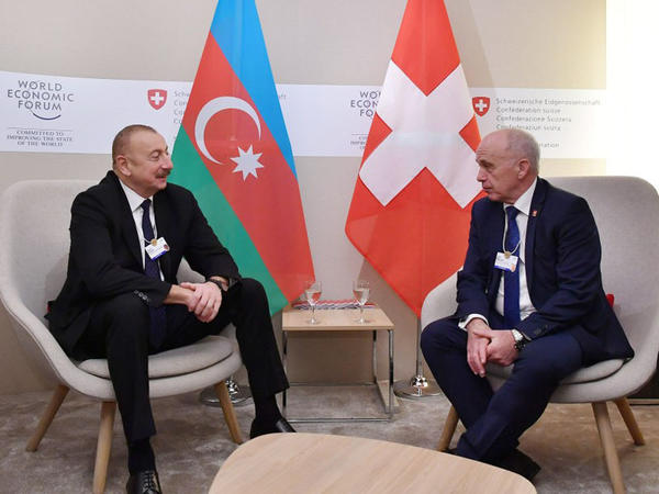 Azərbaycan Prezidenti İlham Əliyevin və İsveçrə Prezidenti Ueli Maurerin görüşü olub - FOTO