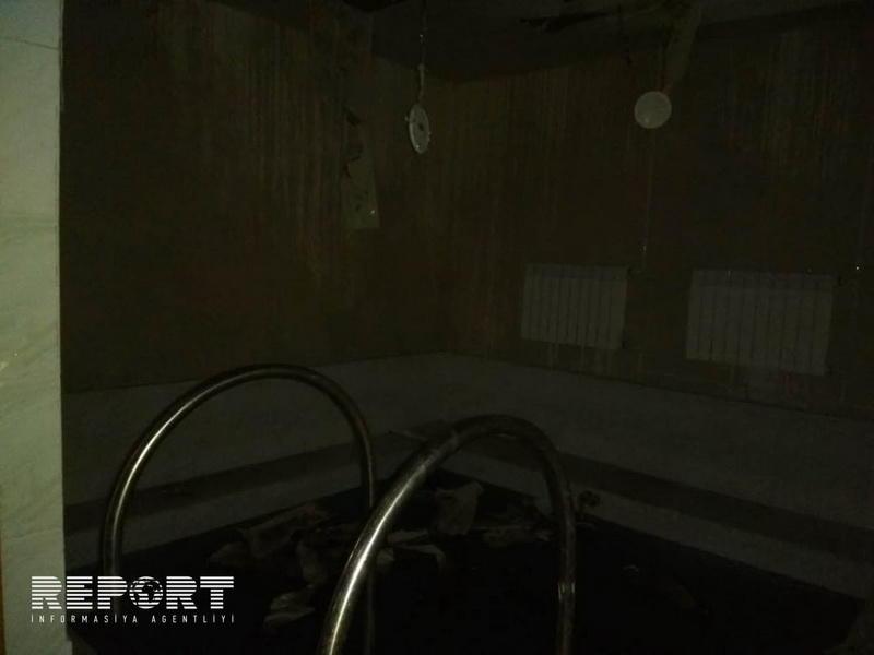Qaxda saunada yanğın baş verib - FOTO
