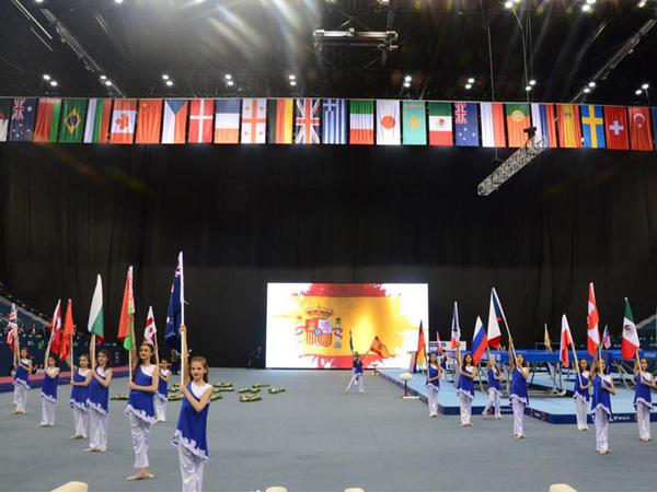Milli Gimnastika Arenasında batut gimnastikası və tamblinq üzrə Dünya Kubokunun açılış mərasimi keçirilib - FОТО