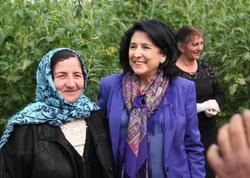 Zurabişvili azərbaycanlılarla görüşdü - FOTO